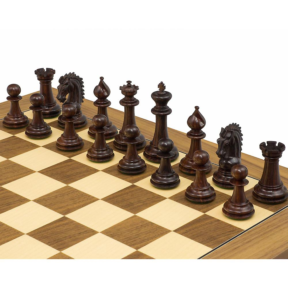 The Sheffield Knight Rosewood & Walnut Chess Set