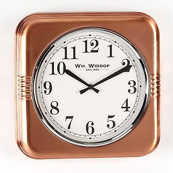 Widdop Bingham Square Metal Case 32cm Copper Finish Wall Clock