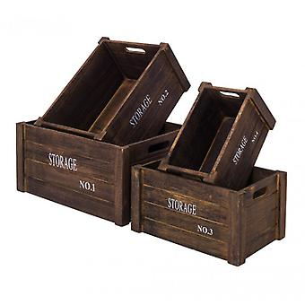 Furniture Rebecca Set 4 Boxes Grey Wood Shabby Vintage 17x36x25