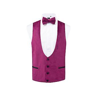 Dobell Mens Purple Velvet Tuxedo Waistcoat Regular Fit