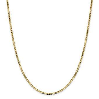 14k 2.4 mm ploché námorné lode Mariner kotva reťaz členok náramok šperky Darčeky pre ženy-dĺžka: 7 až 10