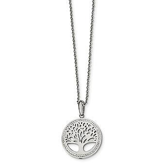 Edelstahl poliert mit Preciosa Kristallbaum des Lebens W/2inch Ext. Halskette 16 Zoll Schmuck Geschenke für Frauen