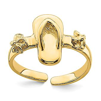 14k Gold Adjustable Flip flop and Flower Toe Ring Jewelry Gifts for Women - 1.5 Grams