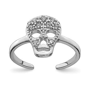 925 Sterling Silver CZ Cubic Zirconia Simulated Diamond Skull Toe Ring Jewelry Gifts for Women