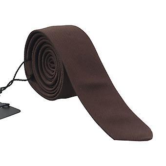 Dolce & Gabbana Brown Silk Striped Slim Tie