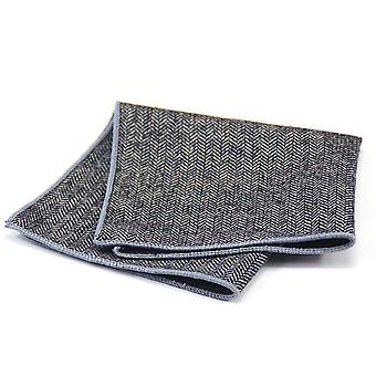 Grey herringbone thick tweed look wool pocket square