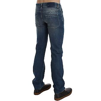 Exte Blue Wash Cotton Regular Fit Jeans With Logo Detail