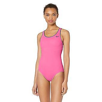 Nike Swim Women's Solid Powerback Tek Parça Mayo, Lazer Fuşya, Orta