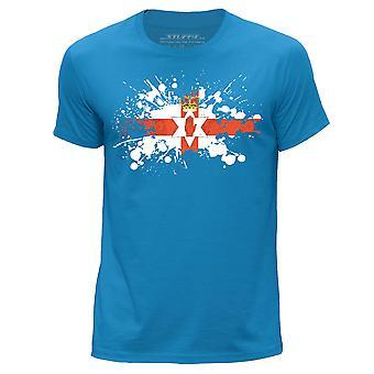 STUFF4 גברים ' חולצת צוואר עגול/צפון אירלנד/דגל אירי מעיכה/כחול