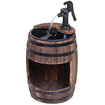 Outsunny Wood Barrel Patio Water Fountain Electric Pump Garden Decorative Ornament with Flower Planter Decor