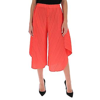 Issey Miyake Pleats Please Pp06jf78225 Women's Red Cotton Pants