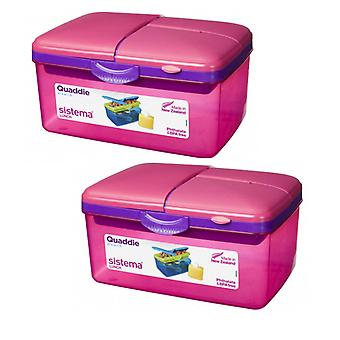 2 Sistema Pink 2L Quaddie Lunch Boxes