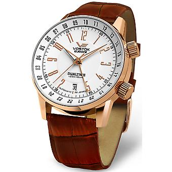 Vostok gaz-14 limouzine automatic dualtime Automatic Analog Man Watch with Cowhide Bracelet 2426-5609060