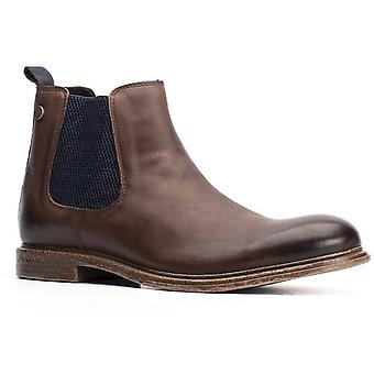 Base London Mens Flint Softy Leather Pull On Chelsea Boots
