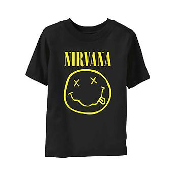 Nirvana Kids T Shirt Smiley Band Logo Nevermind Official Black Ages 3- 24 Months