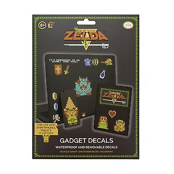 La leyenda de Zelda 8 Bit Gadget Calcomanías - Pegatinas reutilizables e impermeables