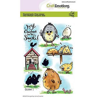 CraftEmotions Clear Stamps A6 - Chicken 1 Carla Creaties (01-20)