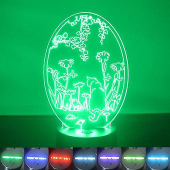 Oval Flower Garden Cat Colour Changing LED Acrylic Light