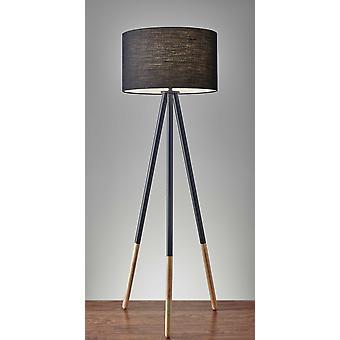 Tripod Floor Lamp Urban Mixed Metal and Wood