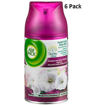 6 X Air Wick Freshmatic Max Automatic Spray Refill 250Ml - Smooth Satin & Moon Lily