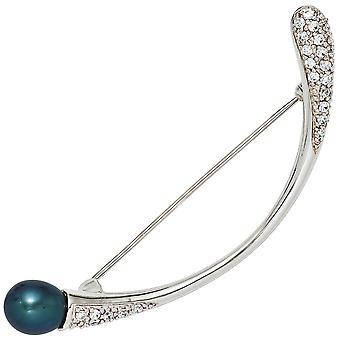 Rhodium-plated sterling zilver met Zirkonia zilveren broche Pearl broche broche 925