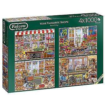 Falcon De Luxe Puzzle - Ihre Lieblings-Shops, 4 X 1000 Stück