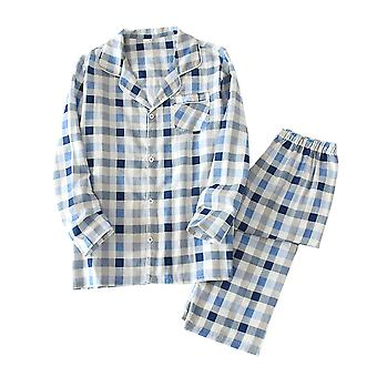 Allthemen Men's Cotton Plaid Home Clothes Sleep Bathing Jacket&Pants