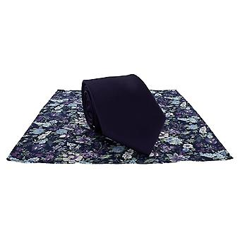 Michelsons London Plain Tie und Kontrast Floral Einstecktuch Set - lila