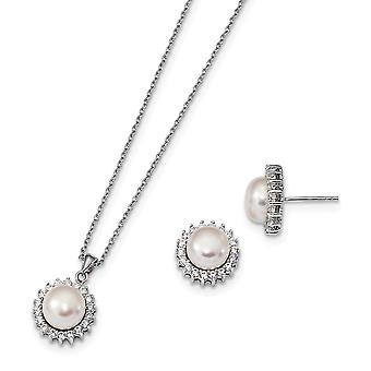 925 Sterling Silver Rh 8 9mm Freshwater Cultured Pearl CZ Cubic Zirconia Simulated Diamond Earrings and Necklace Set Jew