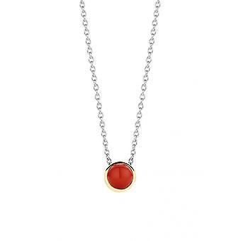 Ti Sento necklace 3845CR - silver stone synth. Red coral set closed dor Woman