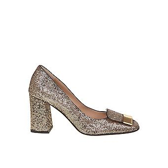 Sergio Rossi A86430mtel277070 Women's Gold Fabric Pumps