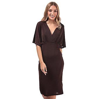 Women's Vero Moda Doreen Shimmer Midi Dress in Brown