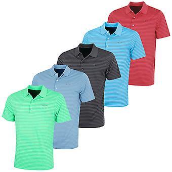 Greg Norman Mens Golf Wicking KX89 Engineered Stripe Polo Shirt