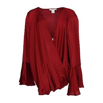 Masseys Women's Plus Top Silky Wrap Long Sleeve Blouse Dark Red