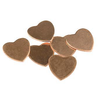 Koper blanks Medium Heart Pack van 6 18mm