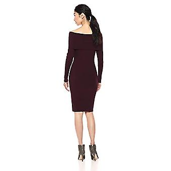 Marque - Lark & Ro Women's Long Sleeve Bateaux Neck Sweater Dress, Burg...