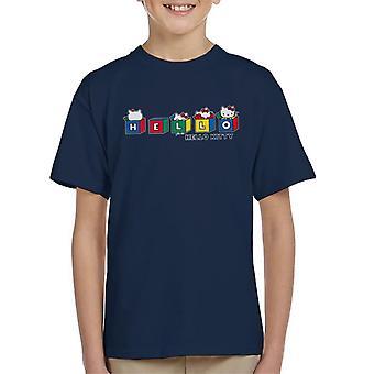 Hello Kitty Multicoloured Cubes Peekaboo Kid's T-Shirt
