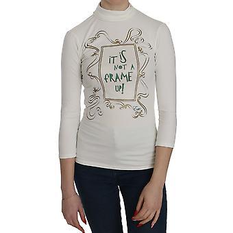 Wit bedrukte schildpad hals 3/4 Mouw top katoenen blouse - TSH3768880