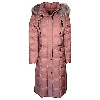 Junge Blush Pink Down Padded Coat With Fur Trim Detachable Hood
