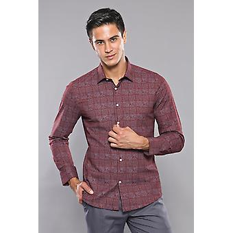 ضوء بورجوندي منقوشة الرجال & apos;s قميص | wessi