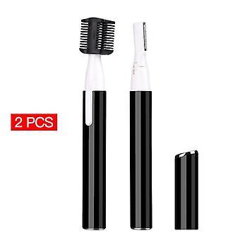 2Pcs bärbara elektriska ögonbryn rakapparat hårborttagning (svart)