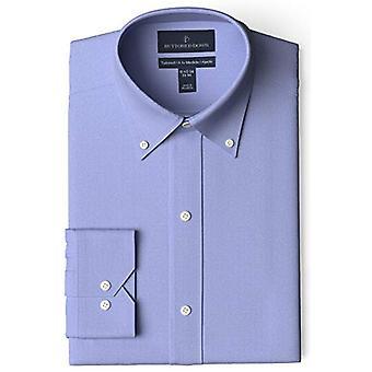 BUTTONED أسفل الرجال & ق تناسب تناسب زر ذوي الياقات البيضاء الصلبة غير الحديد اللباس قميص (لا...