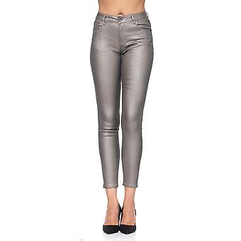 Snake metallic print pants