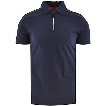 HUGO Navy Dilvio Zip Neck Polo Shirt