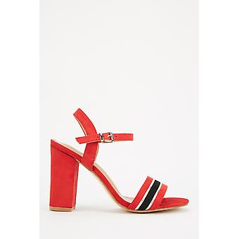 Contrasted Front Open Toe Heeled Sandals