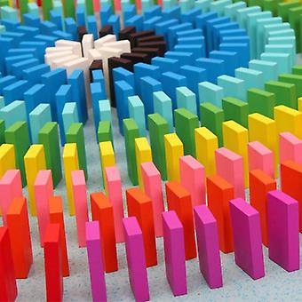 120 Pcs Children Wooden Rainbow Domino Blocks Set Toy Kids (1 Set)