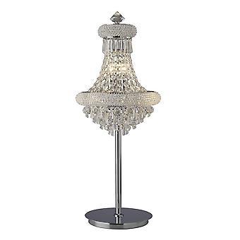 Inspiriert Diyas - Alexandra - Tischleuchte 5 Licht poliert Chrom, Kristall
