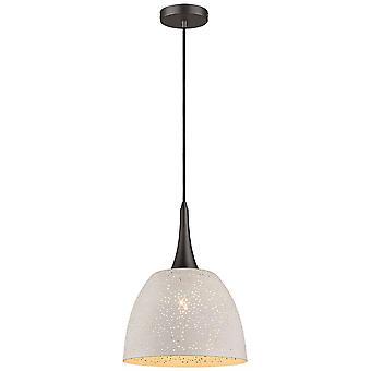 1 Light Dome Ceiling Pendant White, Black, E27