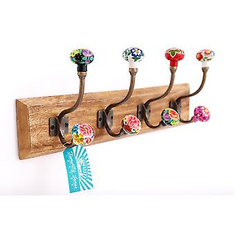 Mexican Floral Ceramic Knobs 4 Double Hooks On Wooden Base