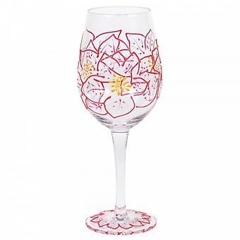 Poinsettias Wine Glass
